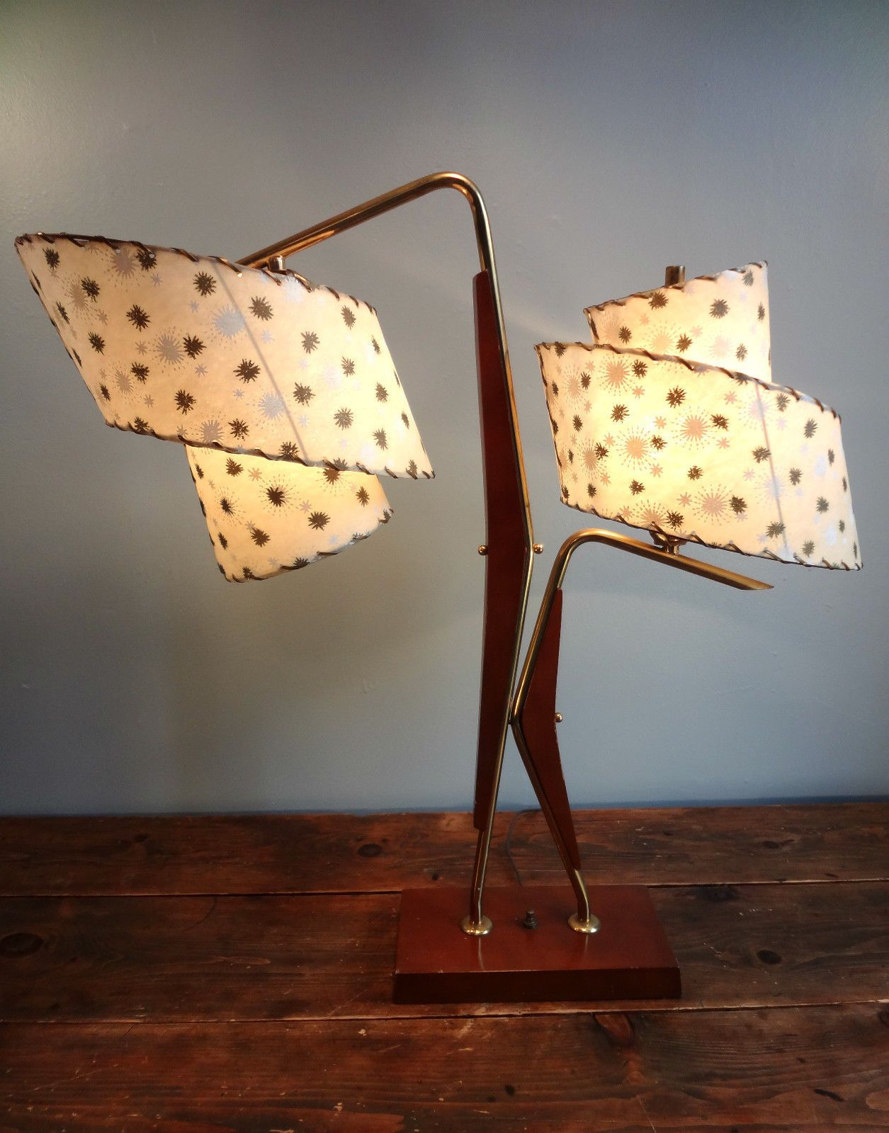 Vintage 2 Majestic Retro Atomic Floor Table Lamps Fiberglass