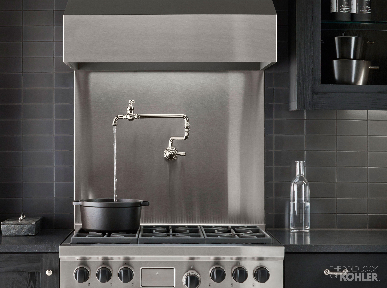 Gentleman S Black Kitchen Pot Filler Black Kitchens Kohler Faucet