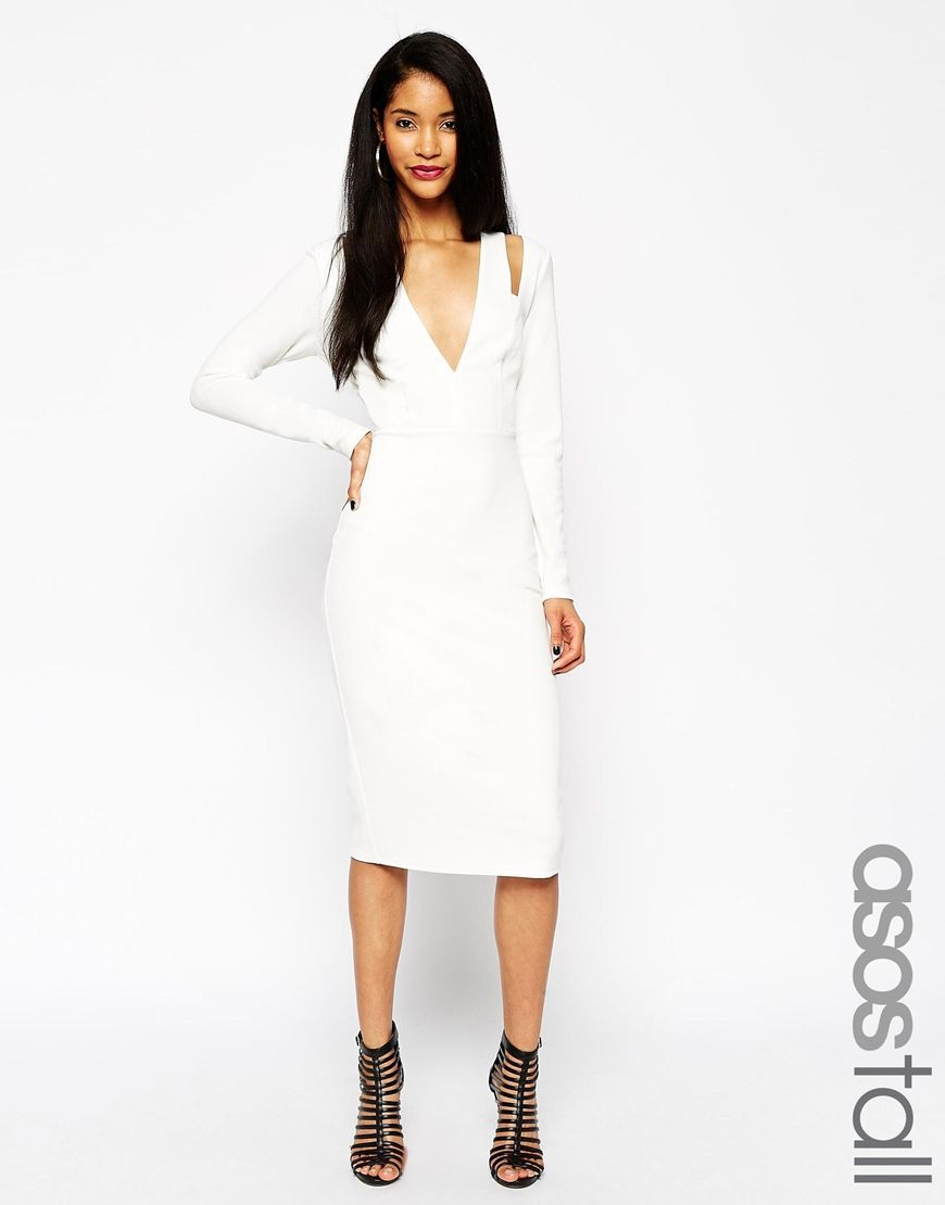 Asos Tall Textured Crepe Plunge Long Sleeve Dress At Asos Com [ 1110 x 870 Pixel ]