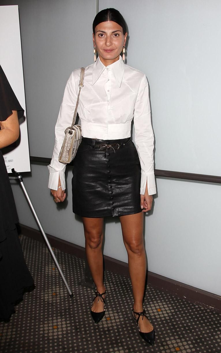 a1e5cd97d7 Giovanna Battaglia s over-sized collar lent a preppy vibe to her leather  mini skirt at the New York screening o f True Cost