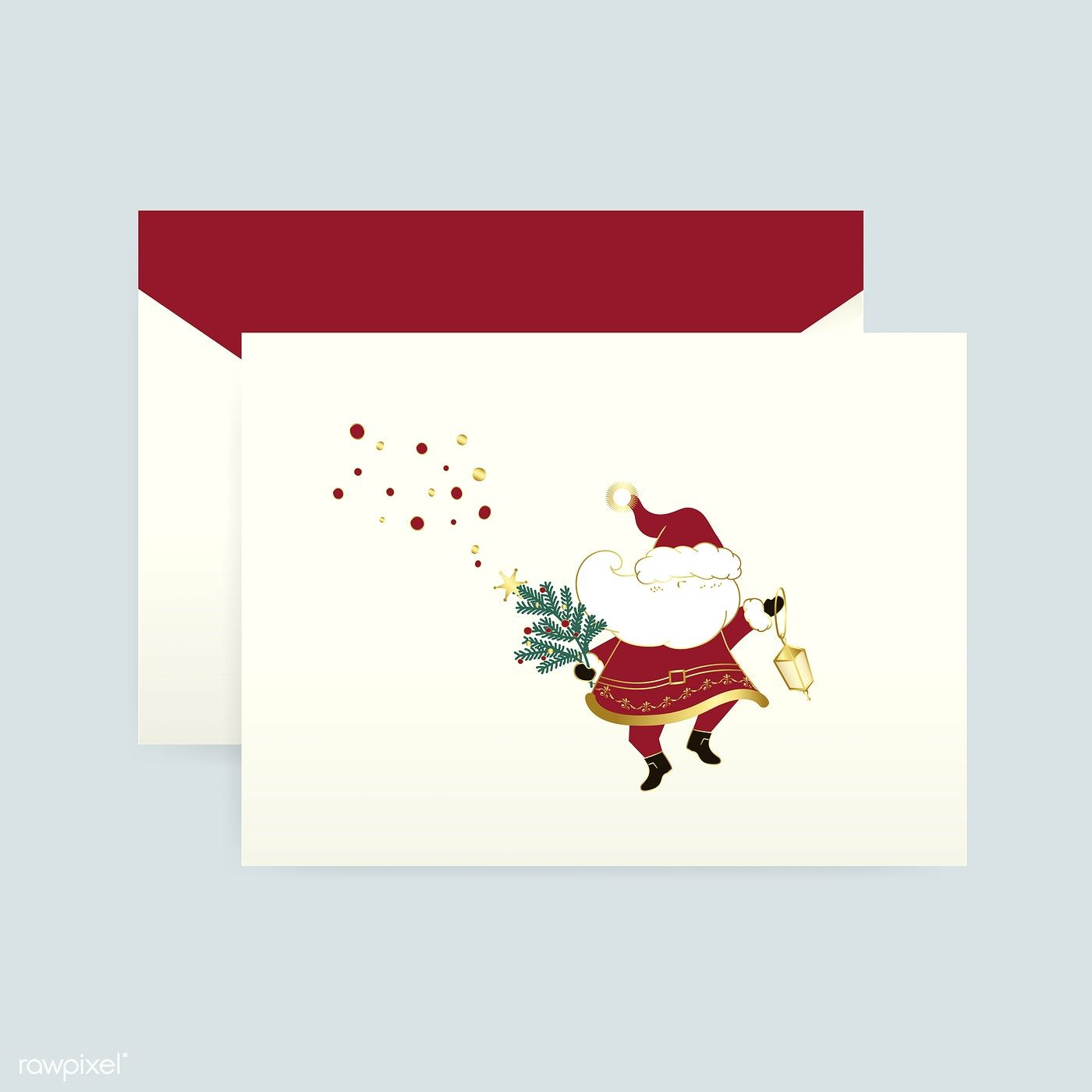 Santa Claus On A Christmas Card Vector Free Image By Rawpixel