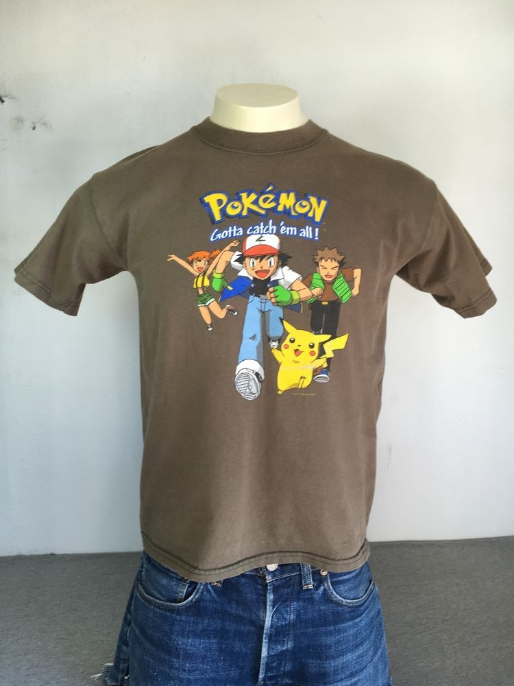 9a4d9f000 POKEMON Shirt Brown VTG 1999 90s Nintendo Official Rare Pikachu Ash Youth  XL #Nintendo #GraphicTee