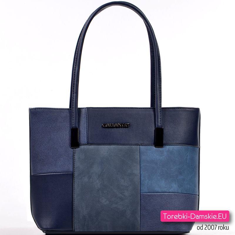 Lekka torebka na ramię granatowo niebieska, model średniej