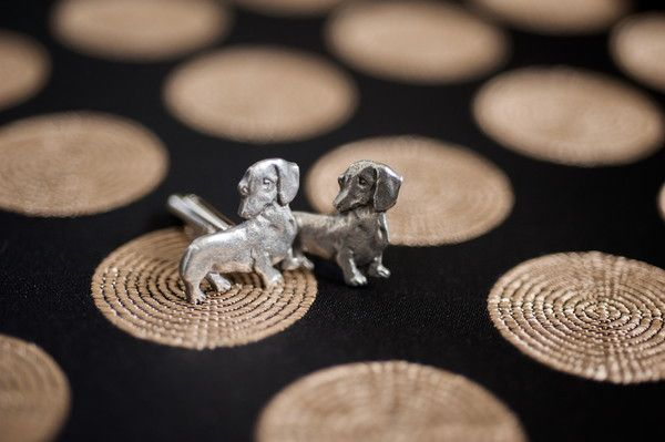 For the grooms who are dog lovers: #daschund cufflinks! {@jen_rutherford}