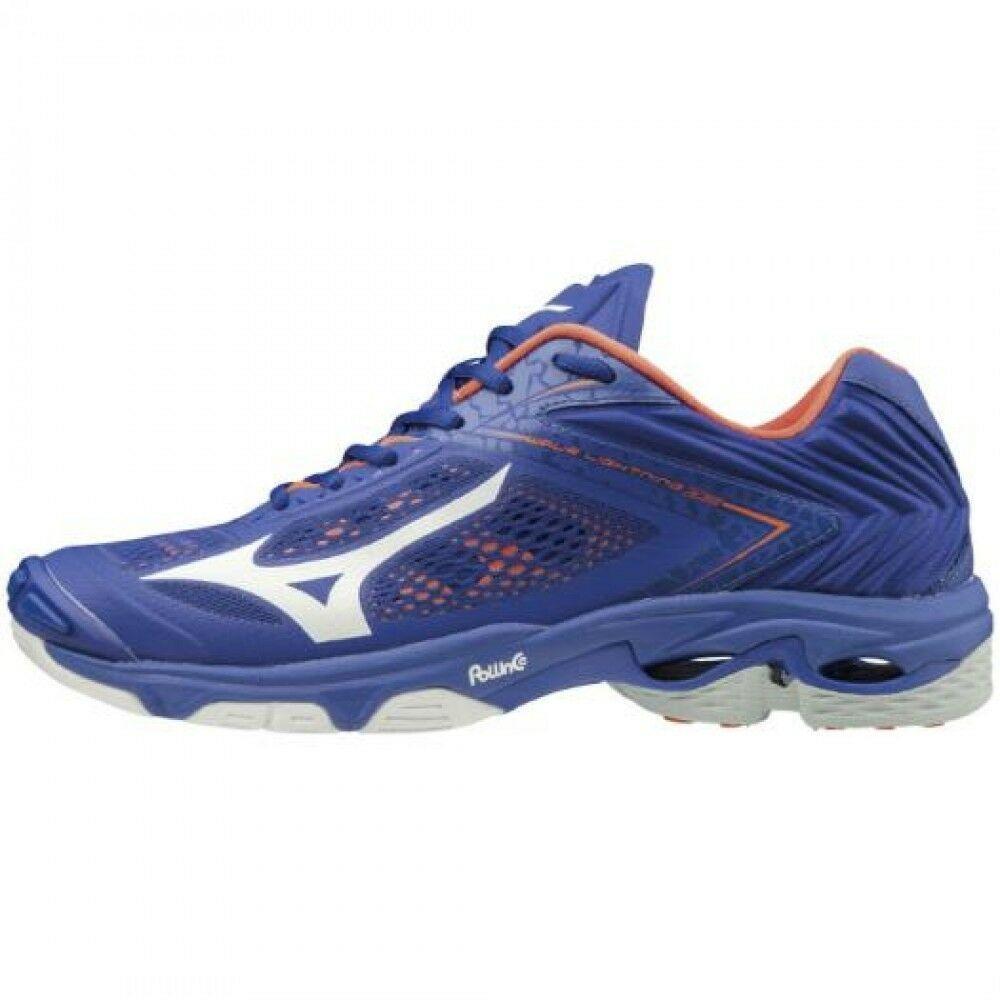 Ebay Sponsored Mizuno Volleyball Shoes Wave Lightning Z5 V1ga1900 Blue White Orange Volleyball Shoes Mizuno Volleyball Blue Shoes