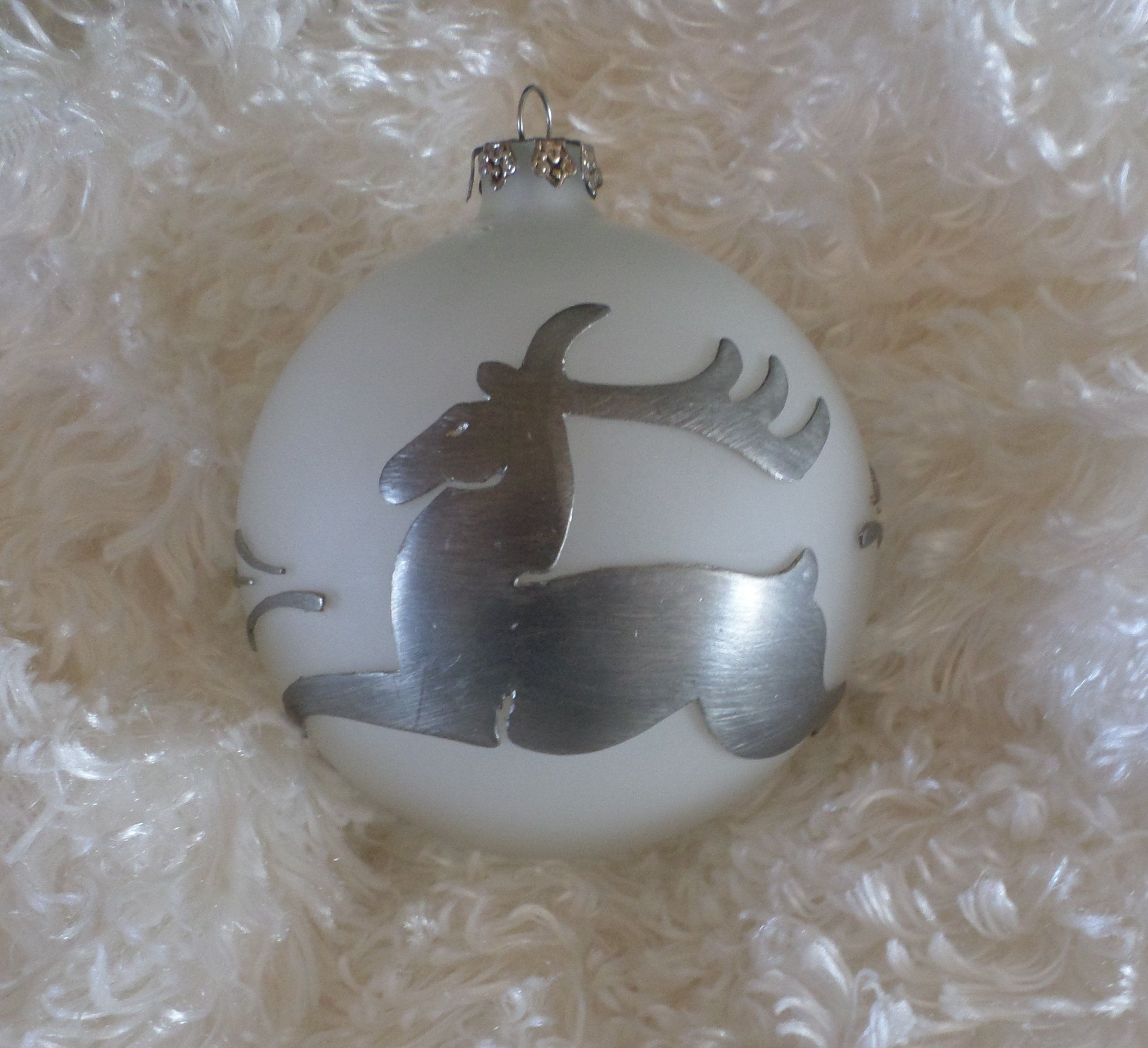 Vintage Metal On Glass Reindeer Ornament Glass Reindeer Etsy Reindeer Ornaments Unusual Christmas Ornaments Vintage Metal