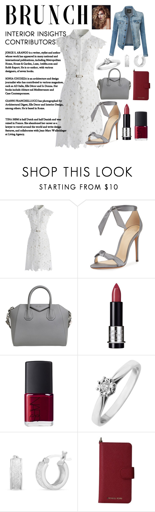 """mother's day brunch style"" by anabelisstyle ❤ liked on Polyvore featuring Chicwish, Alexandre Birman, Givenchy, MAKE UP FOR EVER, NARS Cosmetics, Belk Silverworks, MICHAEL Michael Kors and LE3NO"