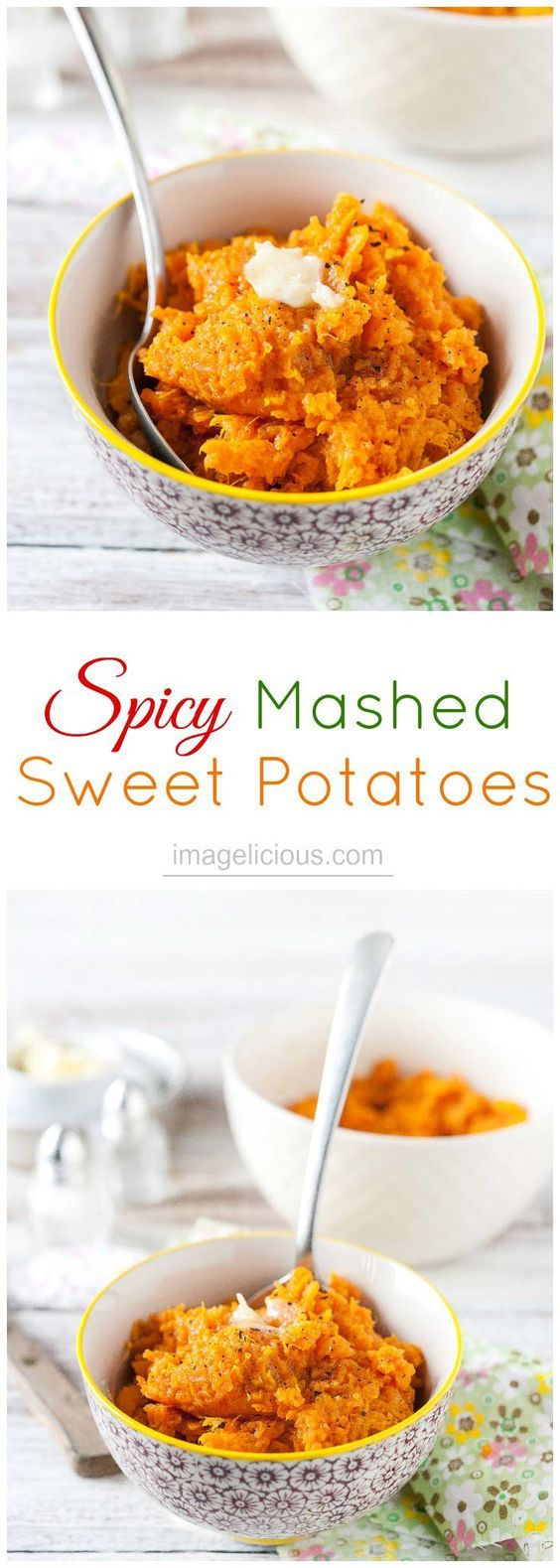 These Spicy Mashed Sweet Potatoes are an excellent side dish - sweet, savoury, and spicy they are a delicious accompaniment to your favourite protein. Made with regular or vegan butter they will satisfy any diet | Imagelicious: