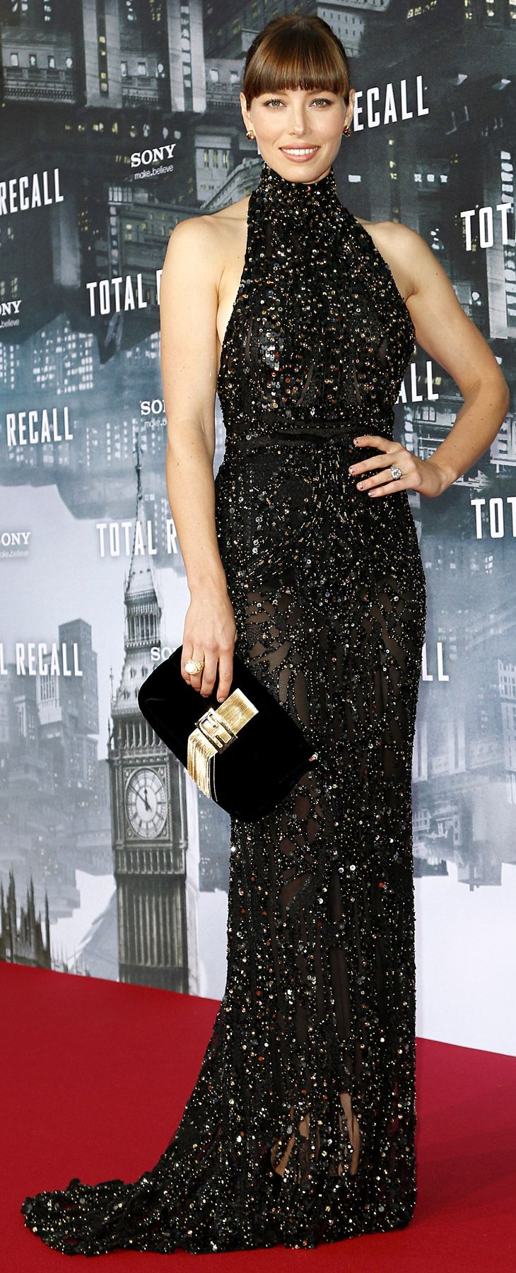 Engaged star Jessica Biel dazzled in a high-neck halter gown by Elie Saab paired with an oversized Fendi clutch at the Total Recall: Berlin Premiere in Berlin, Germany on Aug. 13, 2012.
