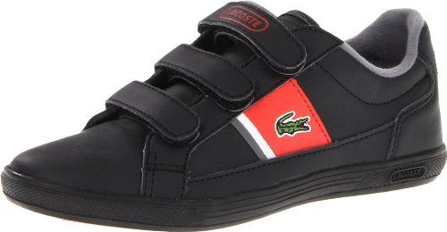 Lacoste Europa S CWK Sneaker (Toddler/Little Kid) Lacoste. $44.95. Rubber sole. Signature embroidered croc logo on side panel, lacoste written logo on leather strap and back heel counter. 100% Synthetic. Rubber outsole. Velcro strap. Slip on. Nylon with suede details upper running inspired sneaker