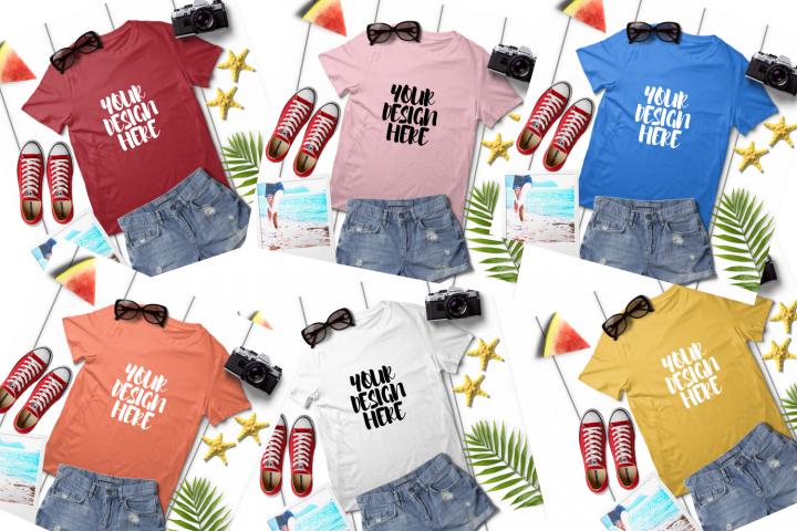 Download Summer Unisex T Shirt Mock Up Bundle 8 280343 Mockups Design Bundles Design Mockup Free Tshirt Mockup Mockup Free Psd