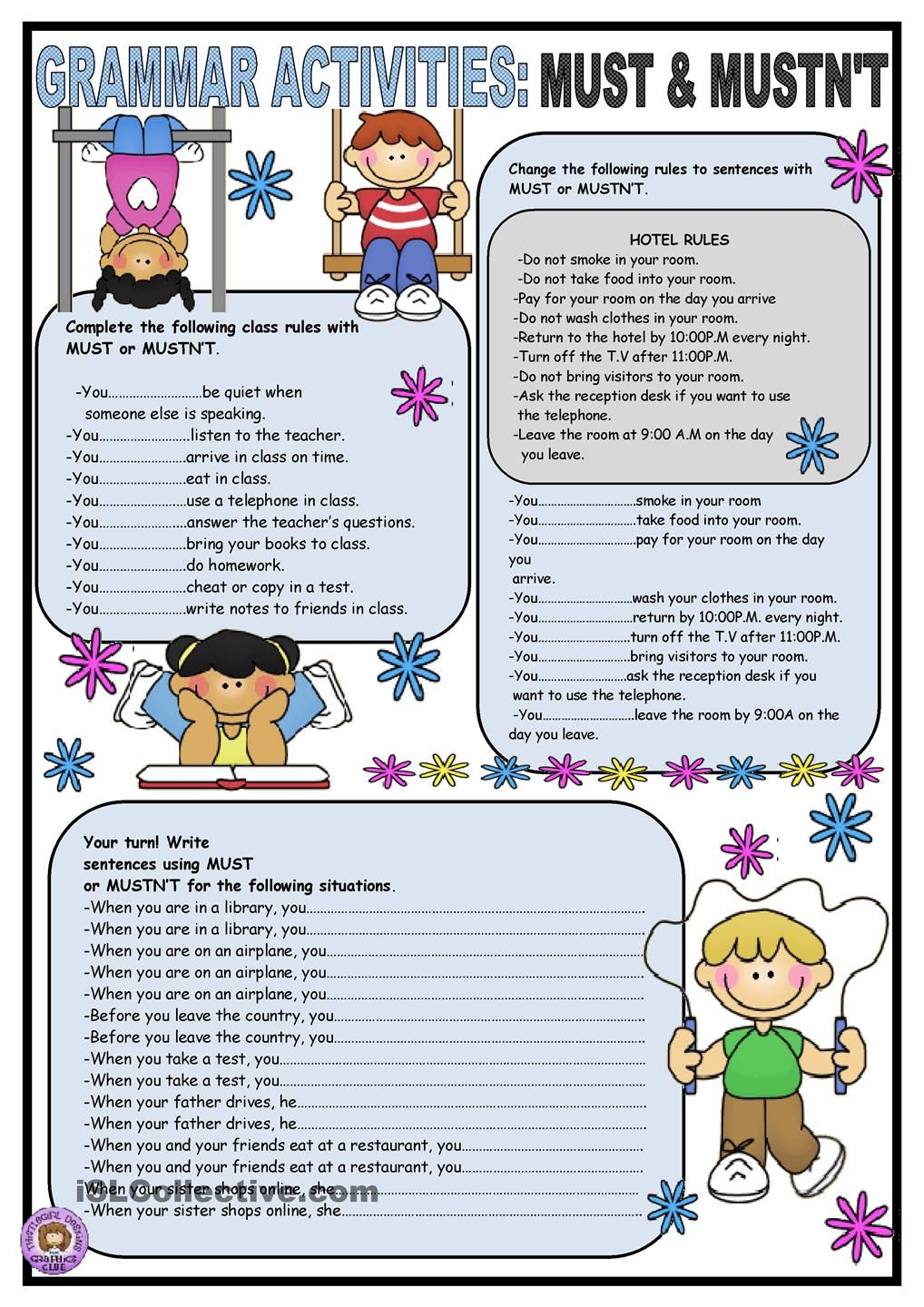Must & Mustnt | √ english | Pinterest | English, Worksheets and ...