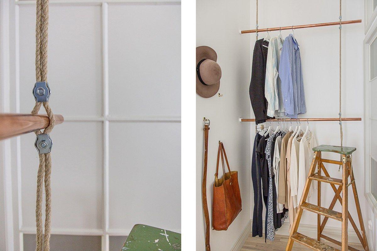 Klädhängare gjord aväkta seglarrep och kopparrör Interiör Modern Pinterest Garderob och