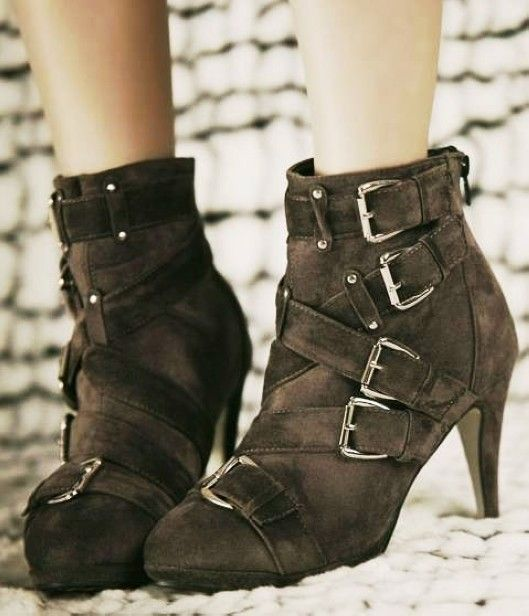 Suede buckle platform high heel booties, buckle high heel boots, platform high heel booties