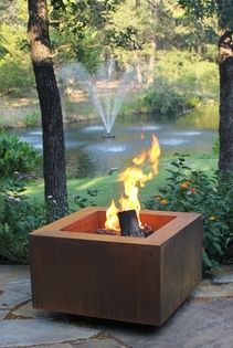 30 Inch Square Cor Ten Steel Fire Pit Natural Gas Or Remote Propane Steel Fire Pit Fire Pit Backyard Fire Pit Materials