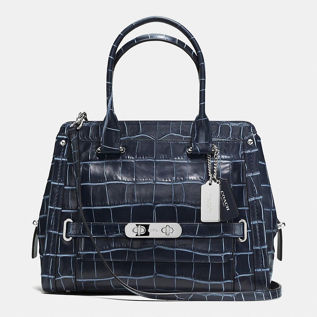 1ebe53b559 Coach Swagger Frame Satchel in Denim Croc Embossed Leather. If this came in  brown and was real croc.