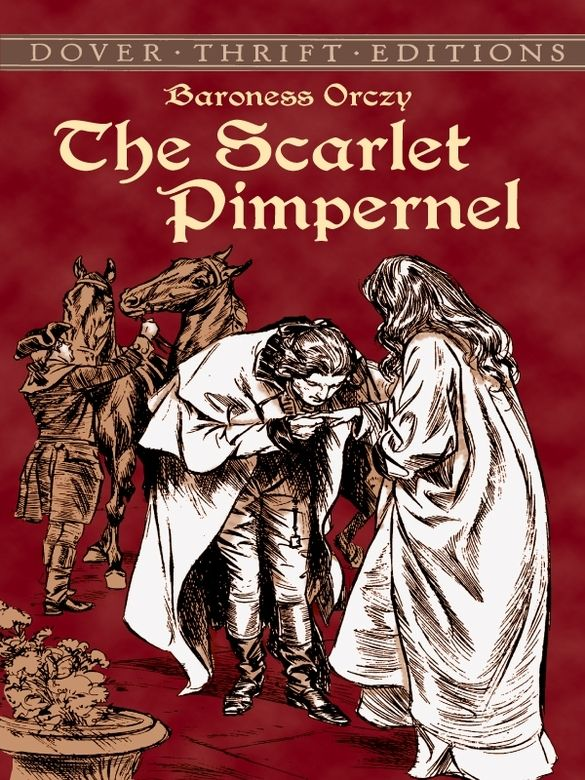 The Scarlet Pimpernel by Baroness Orczy  An irresistible blend of romance, intrigue, and suspense, this timeless historical adventure recalls the Reign of Terror following the French Revolution, when ruthless mobs ruled the streets of Paris and hundreds of royals were condemned to face the guillotine each day. The only hope of many was a courageous leader who spirited aristocrats across the Channel to England and safety. Known by the name of the... #doverthrift #classiclit  ...