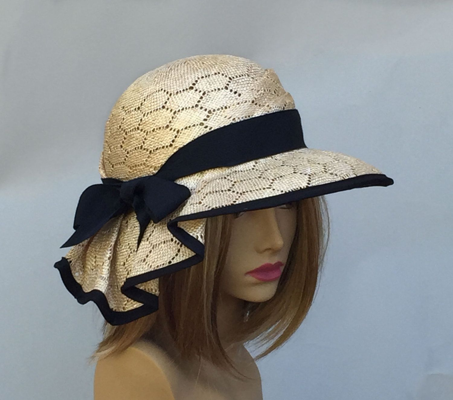 0a05fb224730a Sonya Kentucky Derby hat beautiful straw hat with от LuminataCo
