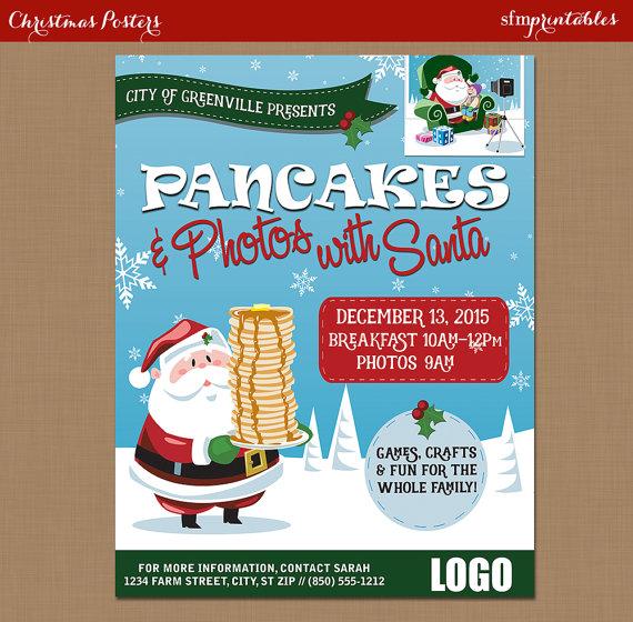 Breakfast Pancakes With Santa Flyer Photos With Santa Etsy Flyer Urlaub Weihnachten Foto Poster