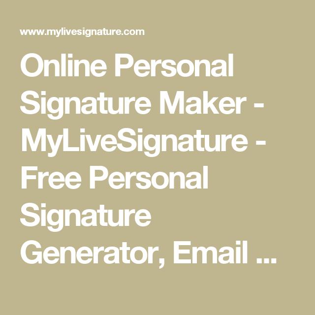 Online Personal Signature Maker - MyLiveSignature - Free Personal ...