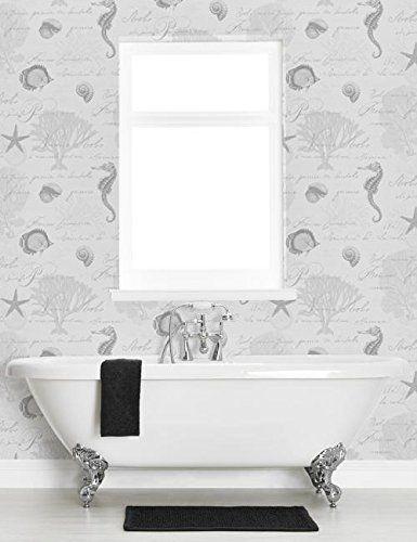 Seahorse Wallpaper Bathroom Kitchen Washable Vinyl Calligraphy Shells Holden Amazon Co Uk Diy Tools Bathroom Wallpaper Bathroom Colors Neutral Tile