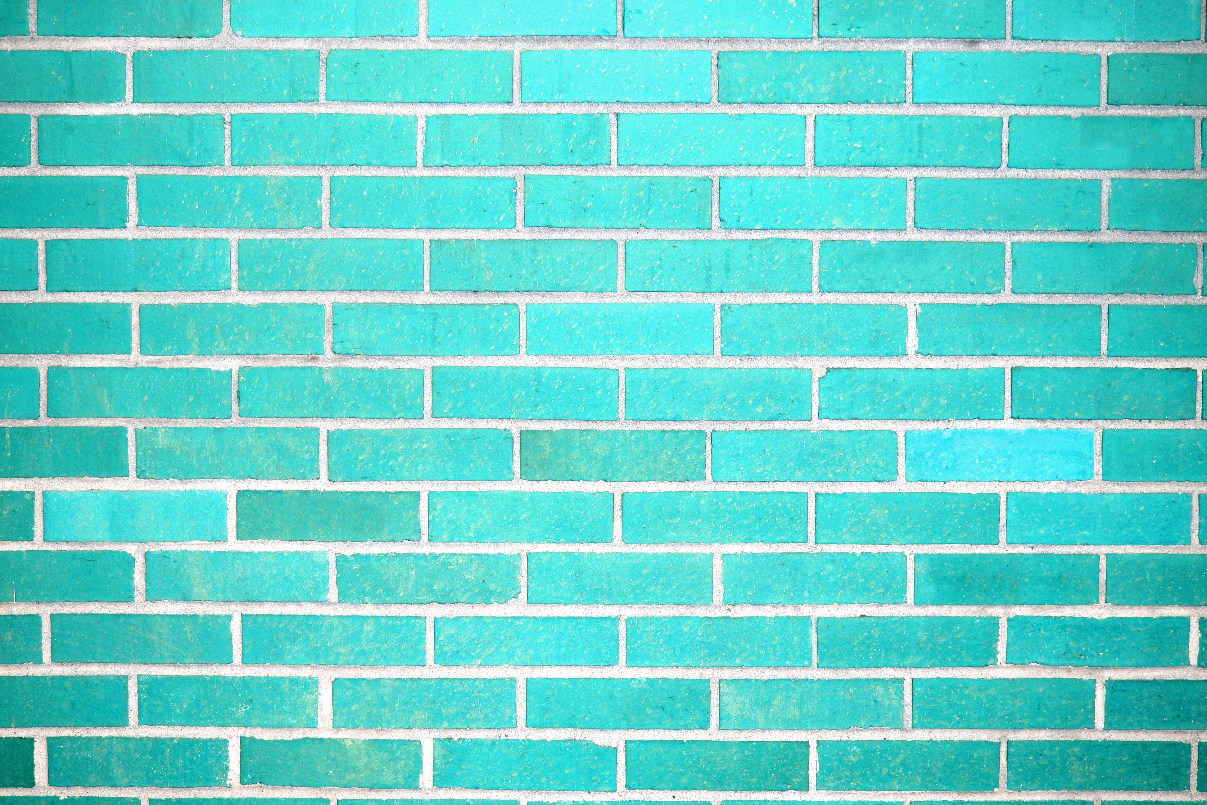 Teal brick wall 3888 2592 cyan pinterest for Teal kitchen wallpaper