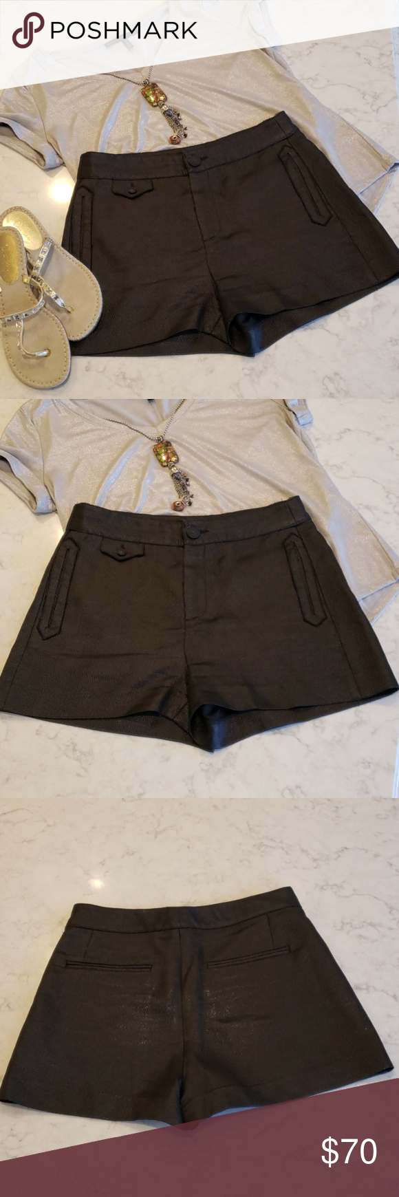 Rag Bone Metallic Black Dress Shorts Absolutely Gorgeous Not Sure These Have Been Worn All Pockets Still Sewn S Fashion Clothes Design Black Short Dress [ 1740 x 580 Pixel ]