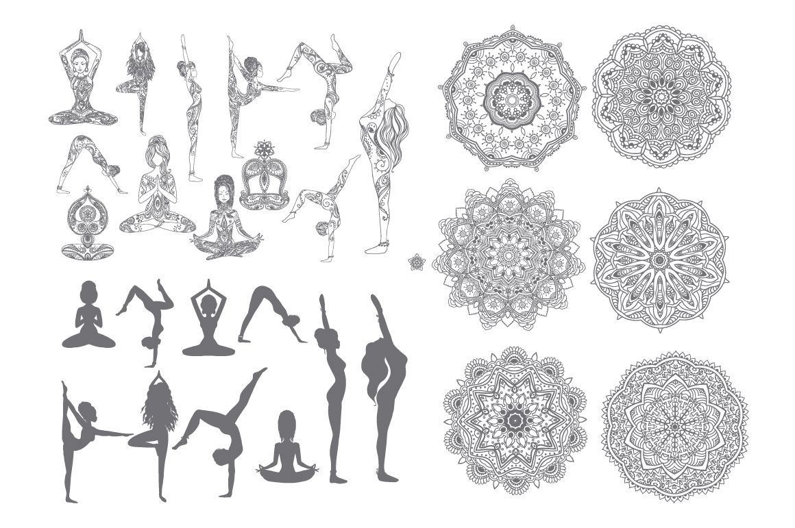 Set yoga poses. Vector by anvinoArt on Creative Market