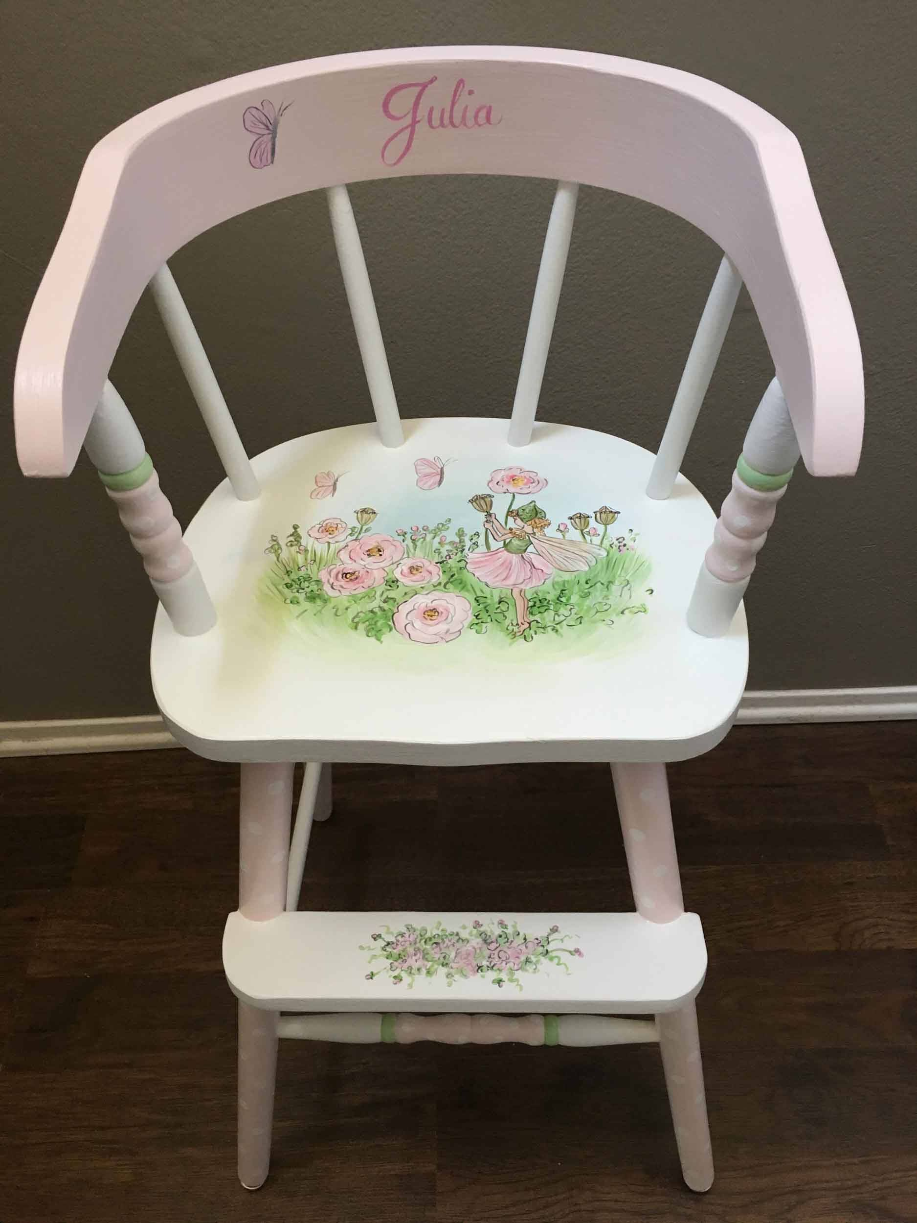 fairy youth chair hand painted kids furniture kids high chair painted furniture by & Fairy youth chair hand painted kids furniture kids high chair ...