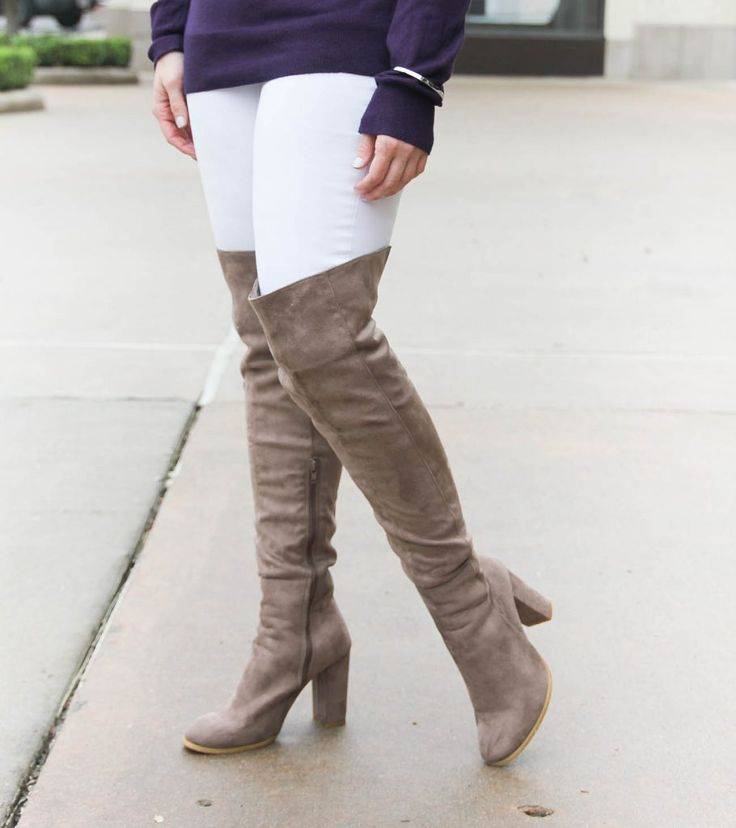 ab04583722b Houston Style Blogger Lady in Violet shows how to wear over the knee boots  when you re short. Click through for outfit details.