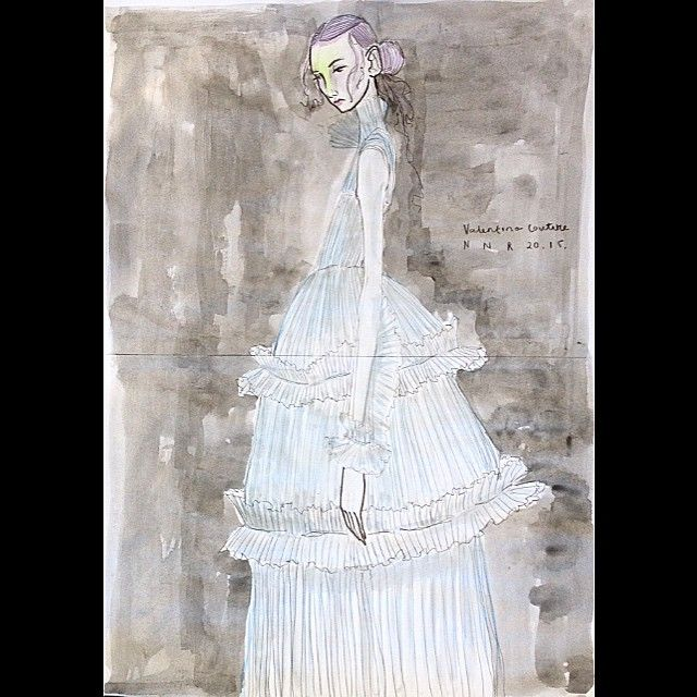 VALENTINO @maisonvalentino #valentino #valentinocouture #fashion #fashionphoto #fashiondesign #fashionillustrator #fashionillustration #sketch #draw #draft #paint #water #watercolour #illustrator #illustration #model #girl #woman #womenswear #colour #boy #paris #parisfashion #germany