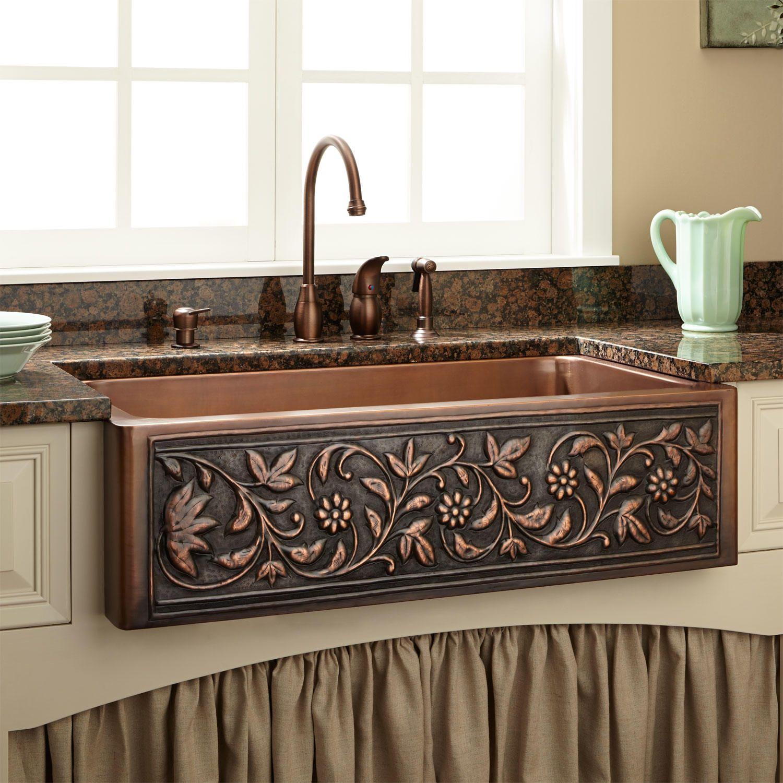 30 Vine Design Copper Farmhouse Sink Copper Farmhouse Sinks Chic Kitchen Shabby Chic Kitchen