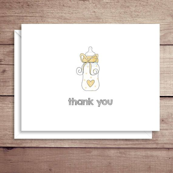 Yellow Bottle Baby Note Cards Baby Shower Thank You Baby
