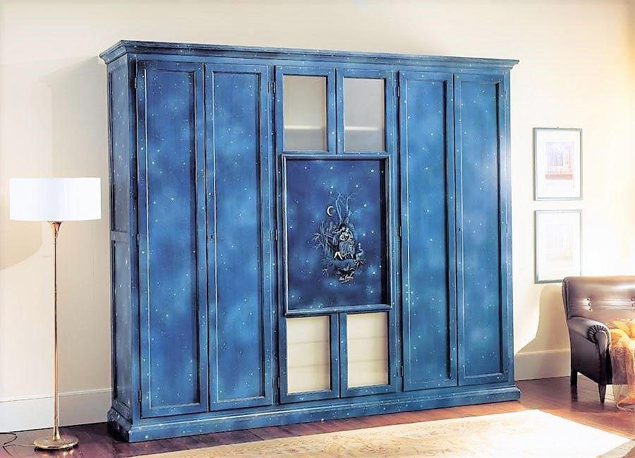 Camera Da Letto Blu Notte : Armadio laccato in legno massello ante blu notte nottestellata