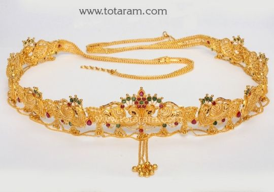 22 Karat Gold Peacock Vaddanam Totaram Jewelers Buy Indian Gold