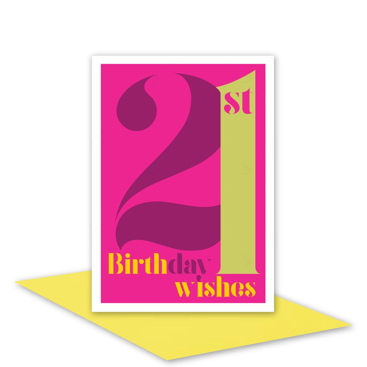21st Birthday Wishes Card For Her 21 Happy Girl Woman Sister Daughter Niece Pink Typography Design Inside Message Options