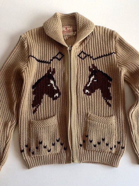 60s cowichan zipfront western horse themed hobby sweater