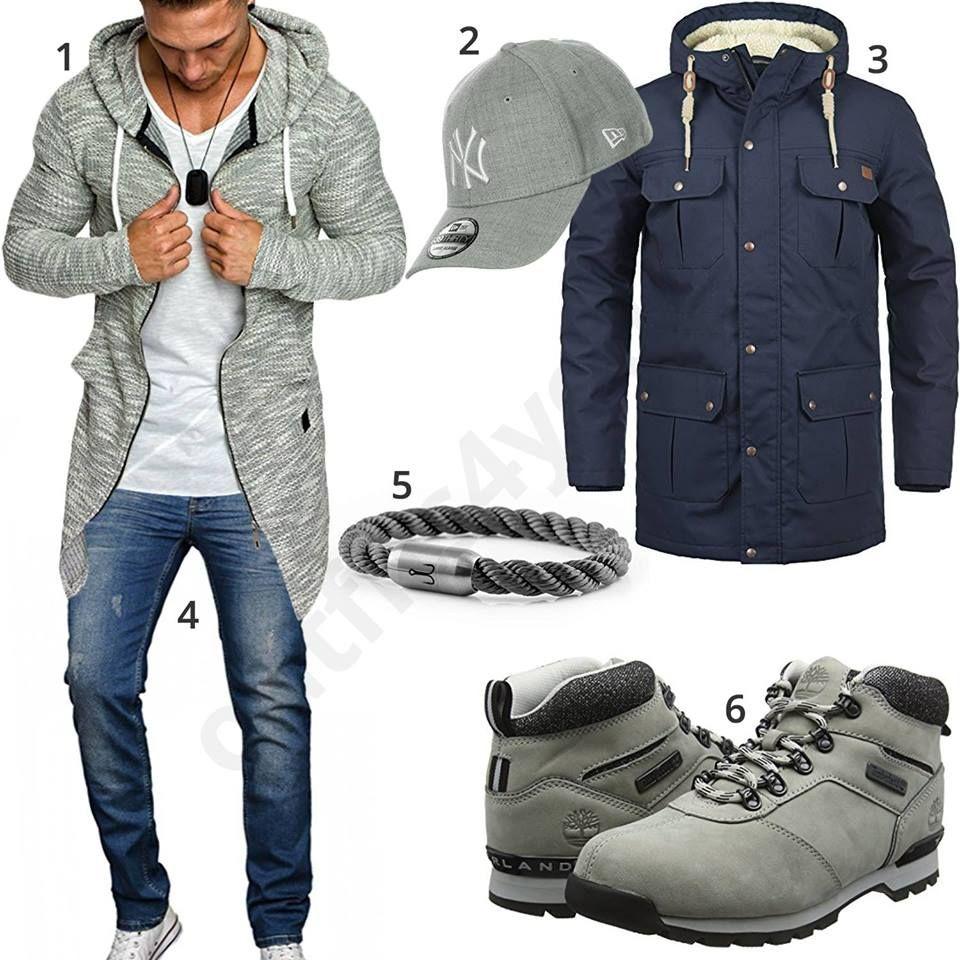 Herrenoutfit Und Hellgrau Parka Boots Mit Blaues Für Outfit Männer 6fBq5p