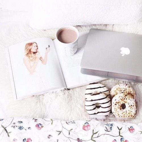 Good Morning Sunday Wallpaper With Quotes Fashion Magazine Donuts Hot Chocolate And Macbook Apple