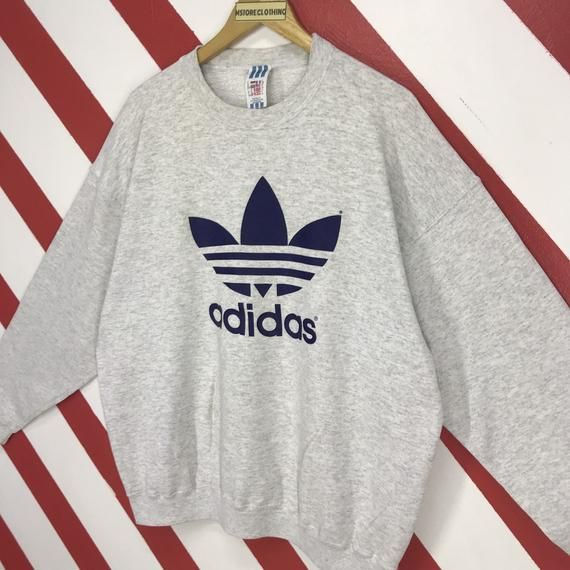 Vintage Adidas Sweatshirt 90's Logo, 3 Stripes | Vintage