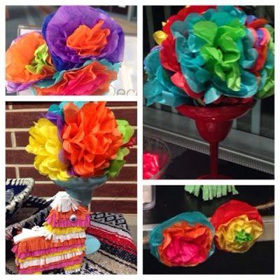 Tissue Paper Flower Centerpiece Margarita Glasses With Paper