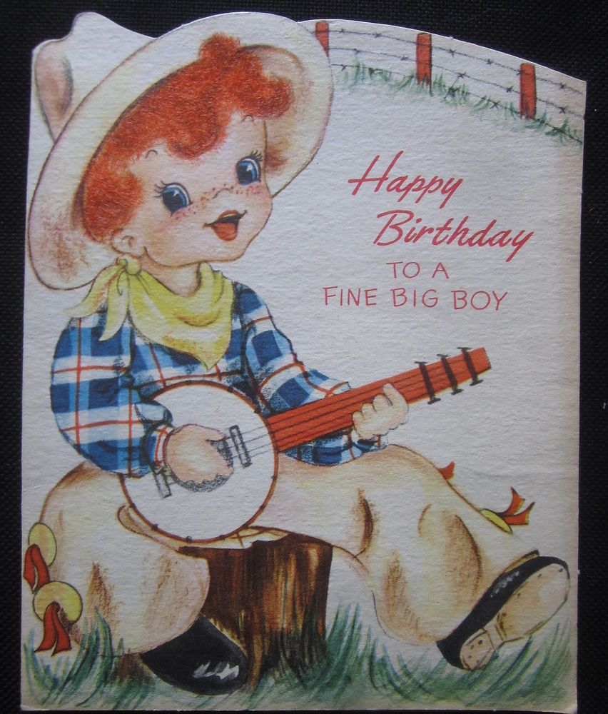 Vintage Happy Birthday Greeting Card Flocked Red Head Boy Playing