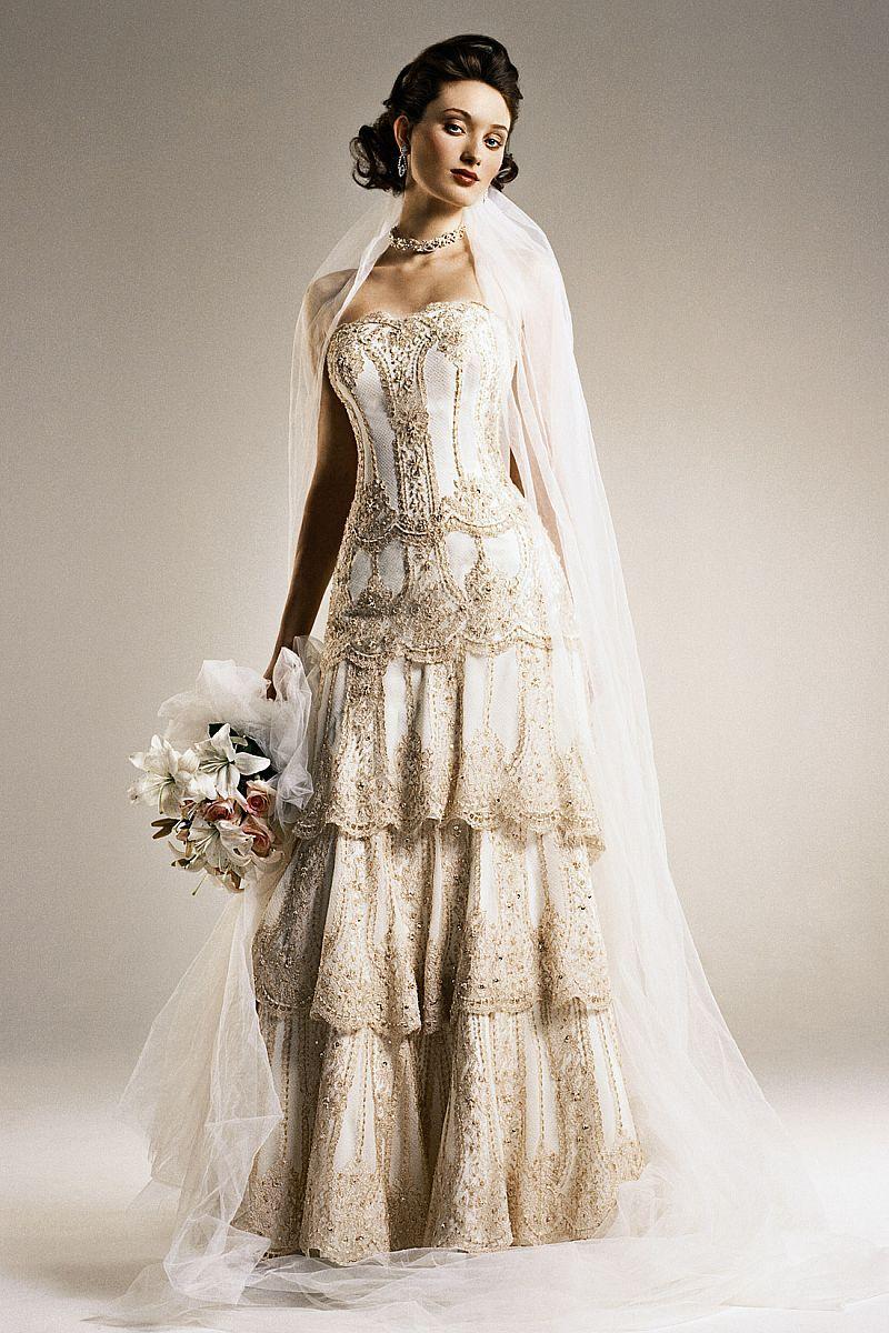 Tiered A Line Gold Wedding Dresses Custom Size  Wedding Dresses