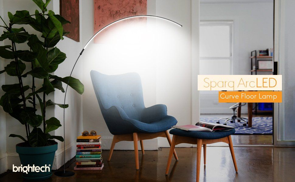 Brightech Sparq Arc Led Floor Lamp Curved Contemporary Minimalist Lighting Glowing Warm