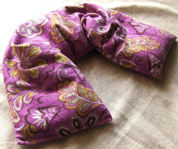 Lavender Rose Flaxseed Neck Wrap Flax Seed Pillow Microwavable Heat Pack Or Heating Pad Microwave Warmer