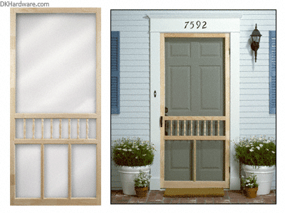 Crl 2120000011 Natural 32 Quot X 80 1 2 Quot Spindle Wood Screen Door With Images Wood Screen Door Screen Door Front Door With Screen