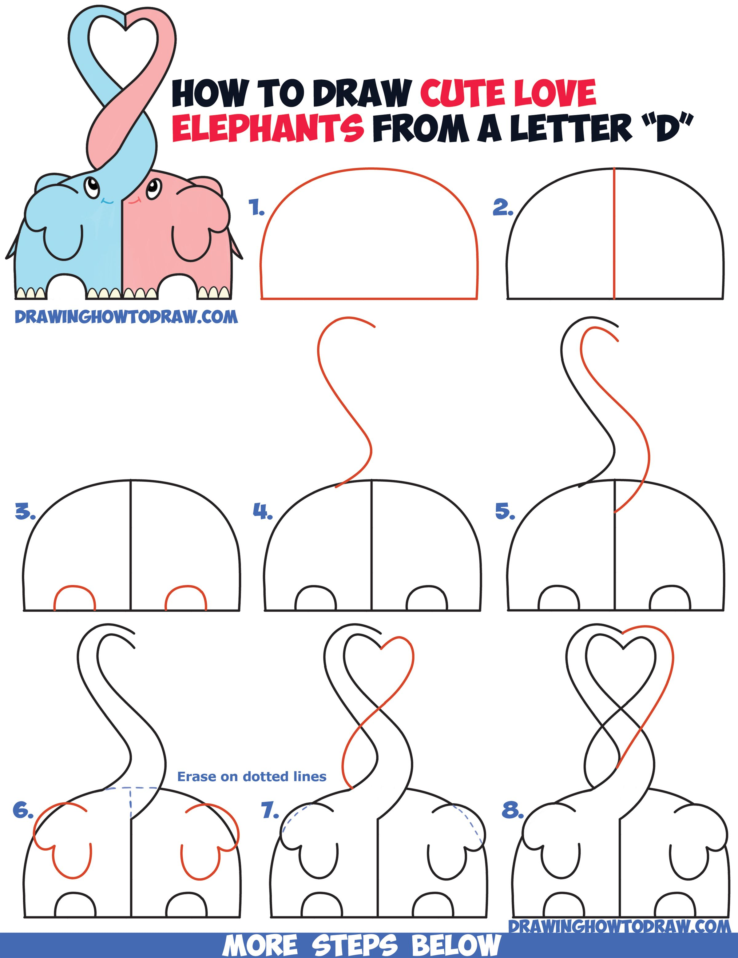 How To Draw Cute Kawaii Chibi Elephants In Love Forming A Heart With Their  Trunks