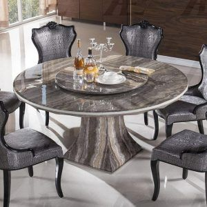 Excellent Round Marble Dining Table For 6 Cool Dining Chairs Above White  Ceramic Floor That 2 Bottles Beer On The Tabletop The Classy And Elegant  Marble ...