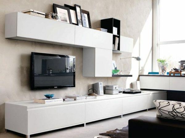 Weiße Wohnwand Stilvolle Gestaltung Ideen