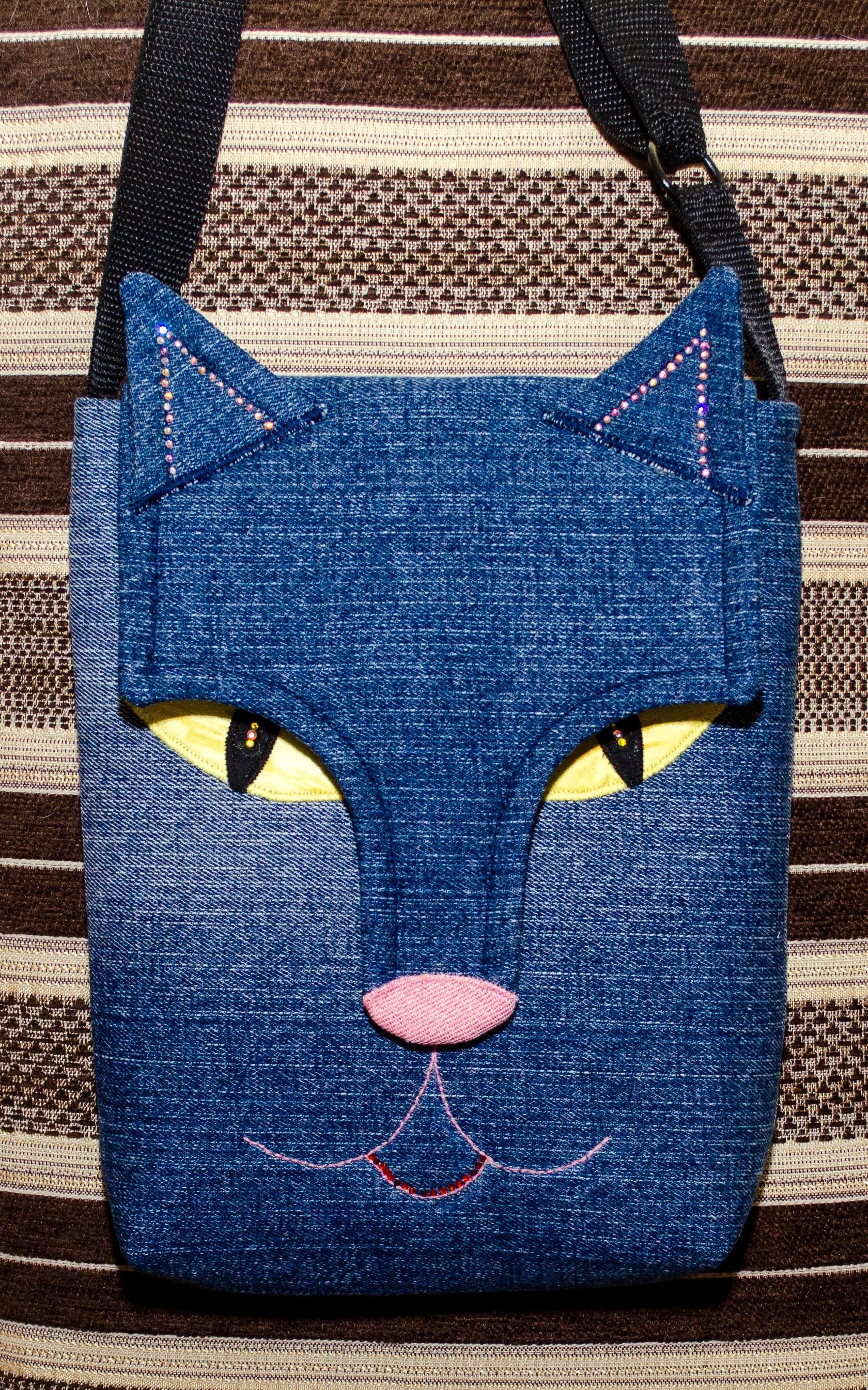 Flapon Cat Face Denim Purse Great Idea With Added Depth In Using The